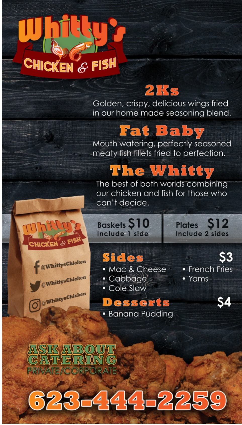 Whitty 39 s chicken and fish food truck menu used pickup for Alaska fish and chicken menu